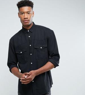 ASOS Черная свободная джинсовая рубашка в стиле вестерн TALL. Цвет: черный