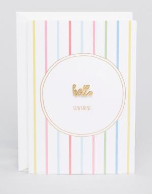 Orelia Значок Hello Sunshine с подарочной открыткой. Цвет: золотой