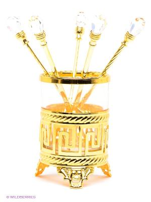 Набор десертных вилок Версаче дизайн Юнион. Цвет: золотистый, прозрачный