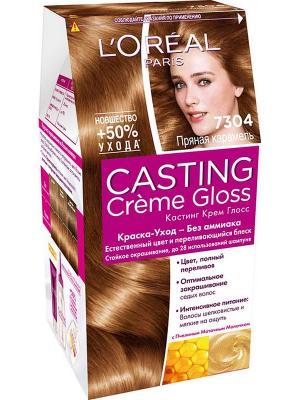 Стойкая краска-уход для волос Casting Creme Gloss без аммиака, оттенок 7304, Пряная карамель L'Oreal Paris. Цвет: коричневый