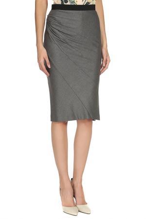 Прилегающая юбка с поясом на резинке Max Mara. Цвет: серый