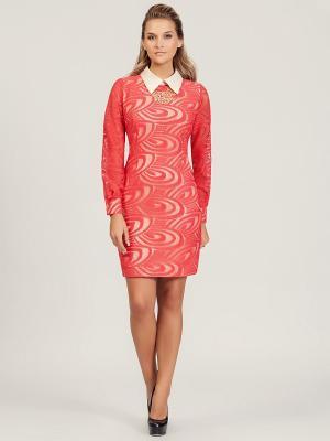 Платье Amelia Lux. Цвет: красный, бежевый
