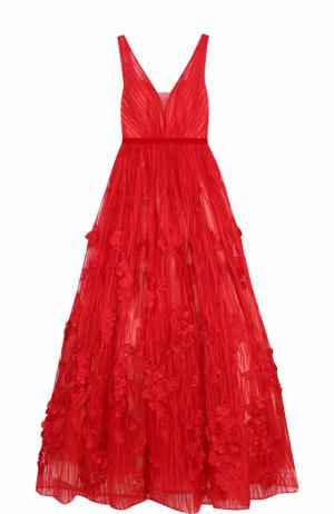 Приталенное платье-макси с пышной юбкой и открытой спиной Basix Black Label. Цвет: красный