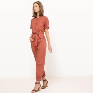 Комбинезон с брюками и поясом однотонный La Redoute Collections. Цвет: зеленый хаки,красно-коричневый