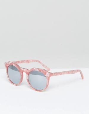 Pala Круглые солнцезащитные очки в розовой черепаховой оправе. Цвет: розовый