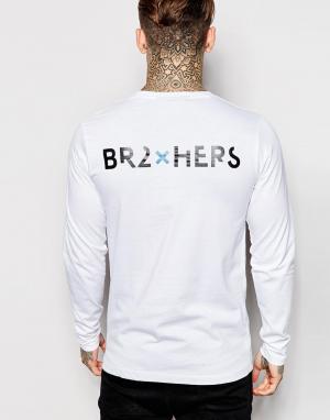 2 x H Brothers Лонгслив с принтом на спинке 2xH. Цвет: белый