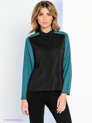 Блузка Levall. Цвет: черный, темно-зеленый