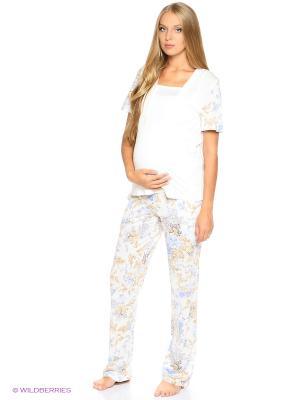 Пижама: футболка и брюки EUROMAMA. Цвет: голубой, молочный