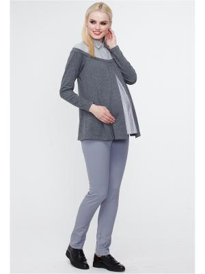 Блузон-обманка TUTTA MAMA. Цвет: серый меланж, белый