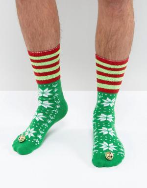 ASOS Слиперы-носки в новогоднем стиле. Цвет: зеленый