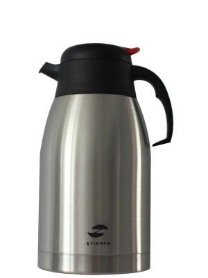Термо-кофейник 2 л широкий Stinger. Цвет: черный, серебристый
