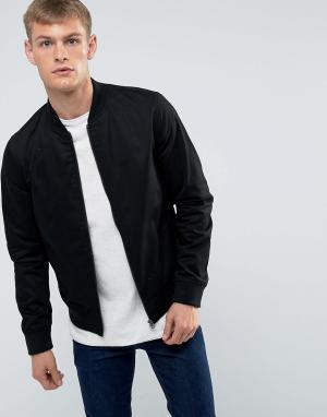 New Look Черная хлопковая куртка-пилот. Цвет: черный
