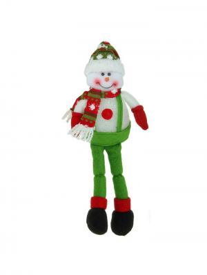 Световая игрушка Снеговик в комбинезоне, 40 см А М Дизайн. Цвет: зеленый, красный