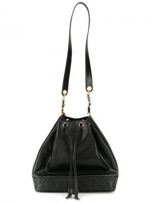 Сумка-мешок с тисненым логотипом Chanel Vintage. Цвет: чёрный