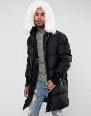 Sixth June Длинная дутая куртка с отделкой из искусственного меха на капюшоне Six. Цвет: черный