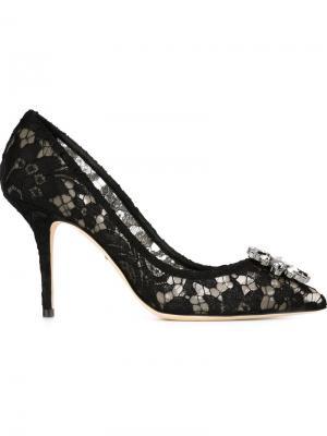 Декорированные туфли из кружева Dolce & Gabbana. Цвет: чёрный