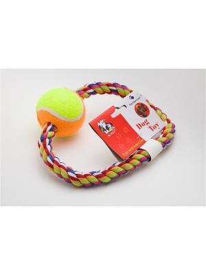 Игрушка канатная кольцо с мячом, 15 см Doggy Style. Цвет: салатовый, оранжевый