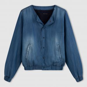 Куртка короткая в стиле бомбер из ткани с имитацией денима CIMARRON. Цвет: синий потертый
