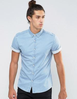 ASOS Выбеленная джинсовая рубашка скинни. Цвет: синий