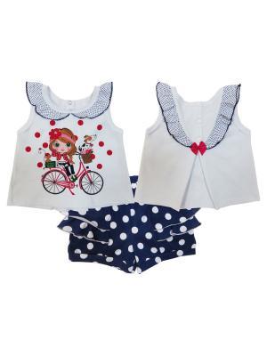 Комплект (майка + шорты), Каникулы Мари Soni kids. Цвет: белый, темно-синий