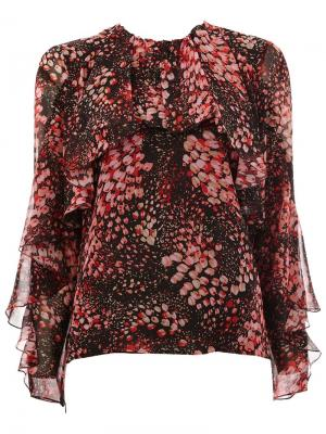 Блузка с принтом лепестков Giambattista Valli. Цвет: чёрный