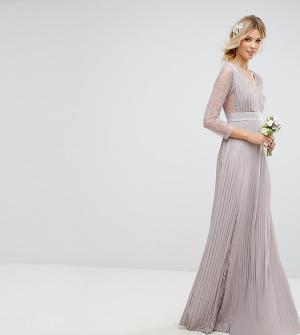 TFNC Tall Плиссированное платье макси с длинными рукавами, кружевными вставками. Цвет: серый