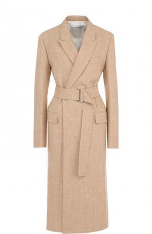 Пальто из смеси хлопка и вискозы с широким поясом Victoria Beckham. Цвет: бежевый