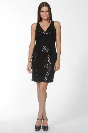 Блестящее платье с V-образным вырезом Olinvnas. Цвет: черный