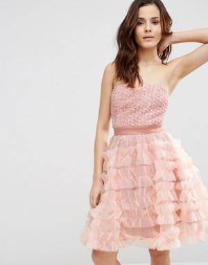 Pixie & Diamond Платье-бандо в молодежном стиле. Цвет: розовый