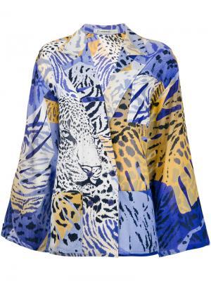 Двубортный пиджак с животным принтом Jean Louis Scherrer Vintage. Цвет: синий
