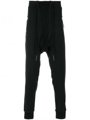 Спортивные брюки с заниженным шаговым швом 11 By Boris Bidjan Saberi. Цвет: чёрный