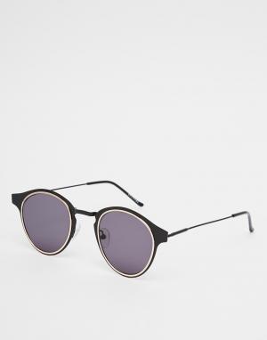 Spitfire Круглые солнцезащитные очки в черной оправе Warp. Цвет: черный