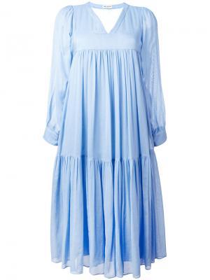 Платье миди с цветочным принтом Masscob. Цвет: синий