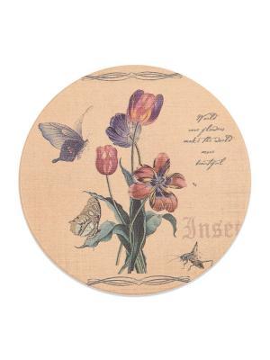 Подставка под горячую чашку, круглая Тюльпаны DAVANA. Цвет: серо-зеленый, бежевый, персиковый