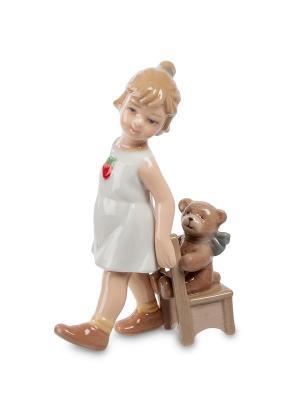 Фигурка Девочка с медвежонком (Pavone) Pavone. Цвет: белый