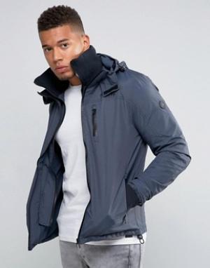 Firetrap Куртка с капюшоном и воротником-труба. Цвет: темно-синий