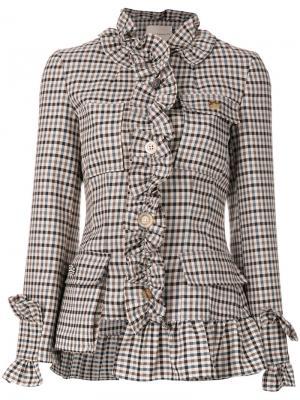 Клетчатый пиджак с оборками по краям Erika Cavallini. Цвет: телесный