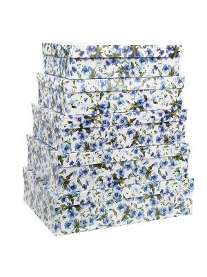 Коробка картонная, набор из 5 шт. 32х20х8 - 40х28х10 см. Цветы. VELD-CO. Цвет: темно-синий, белый, зеленый