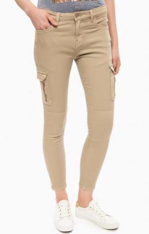 Бежевые брюки с накладными карманами ALCOTT. Цвет: бежевый