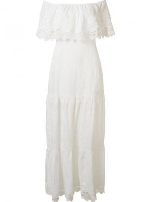 Длинное платье с открытыми плечами Skinbiquini. Цвет: белый