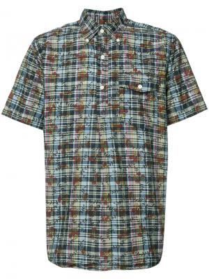 Рубашка DK Floral Madras с короткими рукавами Engineered Garments. Цвет: синий