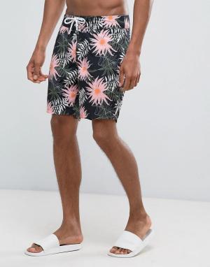 New Look Пляжные шорты с цветочным принтом. Цвет: черный