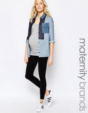 New Look Maternity Бесшовные леггинсы для беременных. Цвет: черный