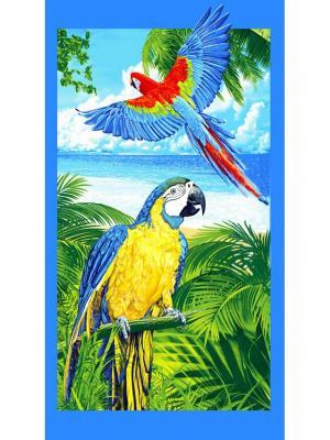 Пляжное вафельное полотенце 80х150 Традиция. Цвет: зеленый, голубой, желтый
