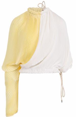 Плиссированный топ асимметричного кроя Marni. Цвет: желтый
