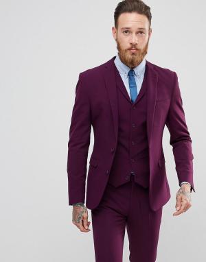 ASOS Приталенный пиджак. Цвет: фиолетовый