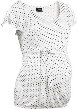 Мода для беременных: праздничная футболка (цвет белой шерсти/черный в горошек) bonprix. Цвет: цвет белой шерсти/черный в горошек