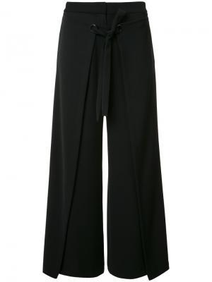 Укороченные широкие брюки Yigal Azrouel. Цвет: чёрный