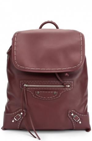 Кожаный рюкзак Traveller Balenciaga. Цвет: бордовый