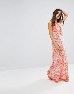 Seafolly Пляжное платье макси с принтом. Цвет: оранжевый